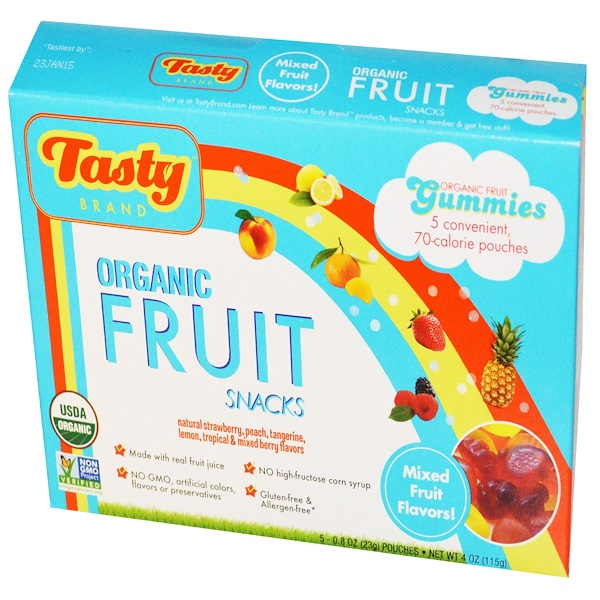 Tasty Brand, Organic Fruit Snack Gummies, Mixed Fruit Flavors, 5 Pouches, 0.8 oz (23 g) Each (Discontinued Item)