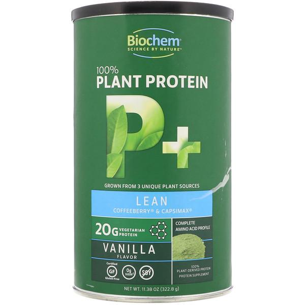 Biochem, 100٪ بروتين نباتي ، بروتين نباتي معزز للعضلات الخالية من الدهون، نكهة الفانيلا، 11.38 أوقية (322.8 غرام) (Discontinued Item)