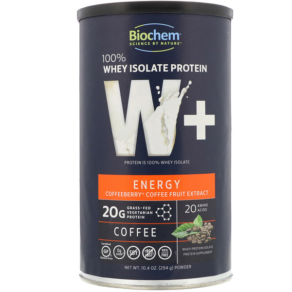 Biochem, 100% Whey Isolate Protein, W+ Energy, Coffee, 10.4 oz (294 g) (Discontinued Item)