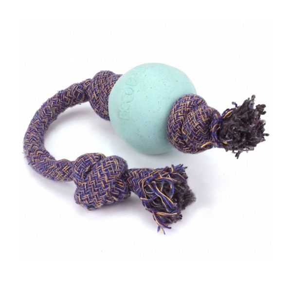 Beco Pets, Eco-Friendly Dog Ball On a Rope, Large, Blue, 1 Rope (Discontinued Item)