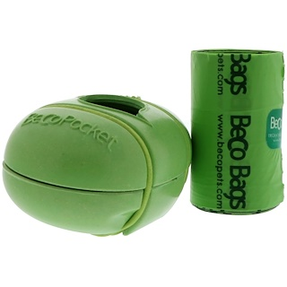 Beco Pets, Beco Pocket, Dispensador de bolsas ecológicas, Verde, 1 Beco Pocket, 15 Bolsas