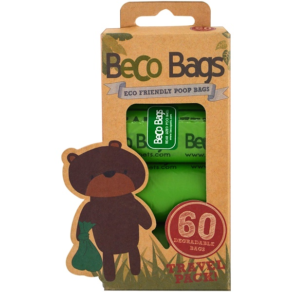 Beco Pets, Eco-Friendly Poop Bags, 60 Degradable Bags, 4 Rolls (Discontinued Item)