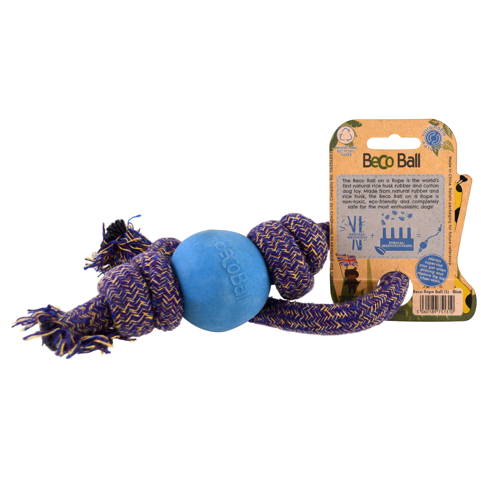 Beco Pets Eco Friendly Dog Ball a Rope Small Blue 1 Rope