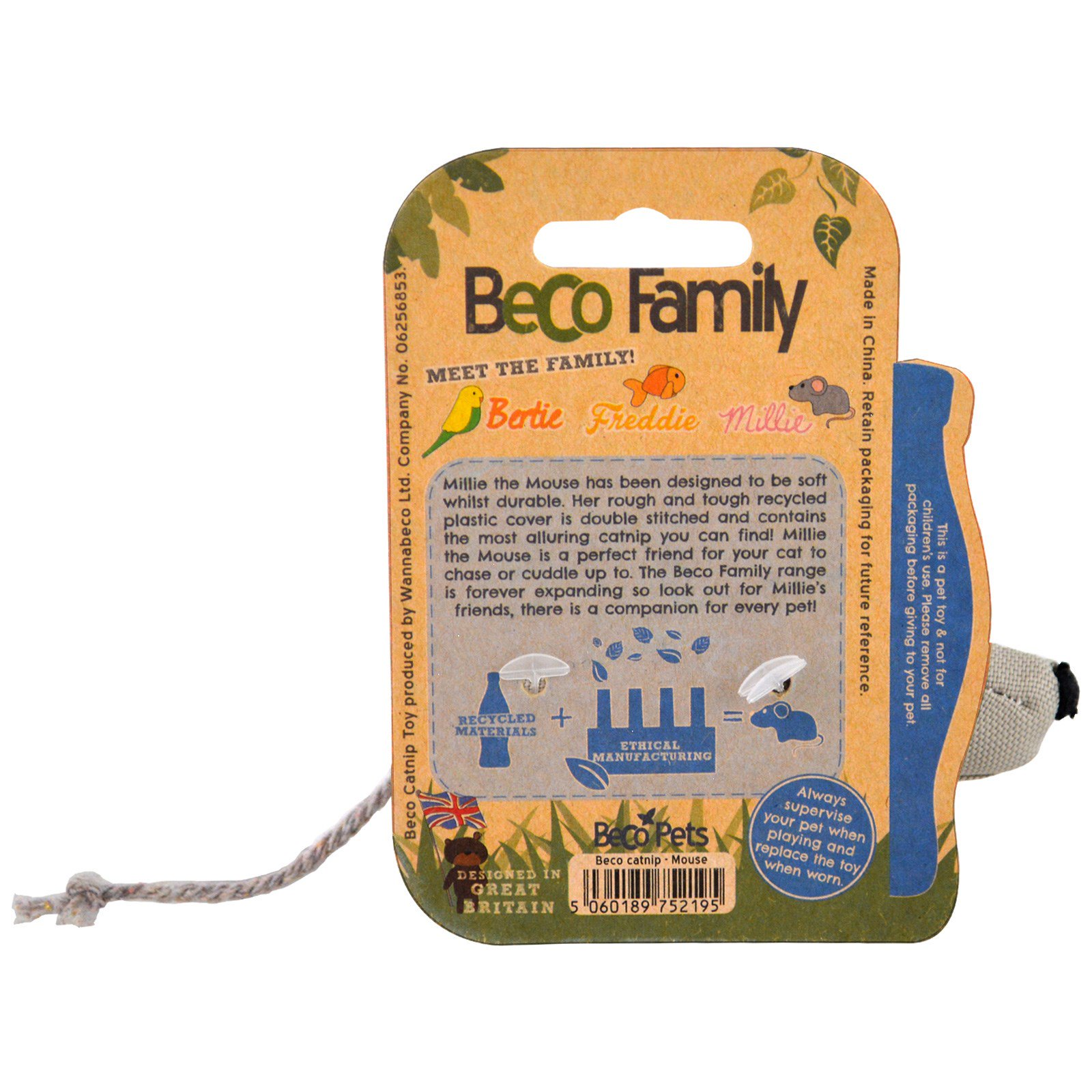 Beco Pets Eco Friendly Cat Toy Millie The Mouse 1 Toy iHerb