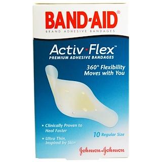 Band Aid, Premium Adhesive Bandages, Activ-Flex, 10 Bandages