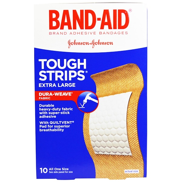Band Aid, Adhesive Bandages, Tough Strips, Extra Large, 10 Bandages (Discontinued Item)