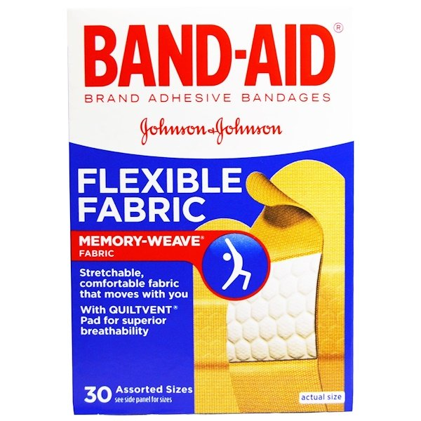 Band Aid, Adhesive Bandages, Flexible Fabric, 30 Assorted Sizes (Discontinued Item)