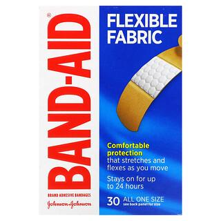 Band Aid, Adhesive Bandages, Flexible Fabric, 30 Bandages