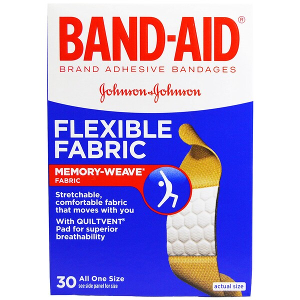 Adhesive Bandages, Flexible Fabric, 30 Bandages