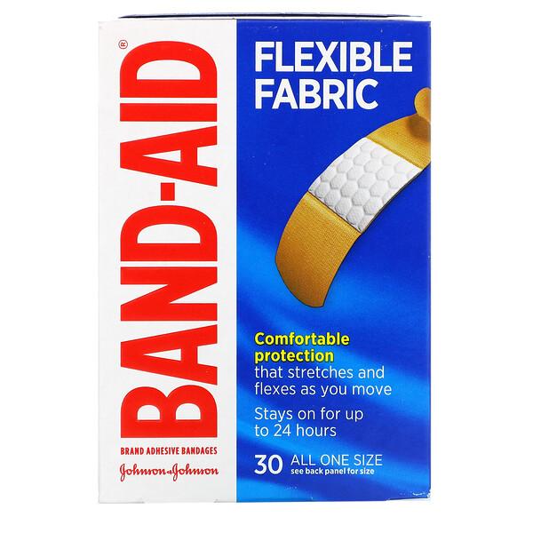 Adhesive Bandages, Flexible Fabric, 30 Bandages