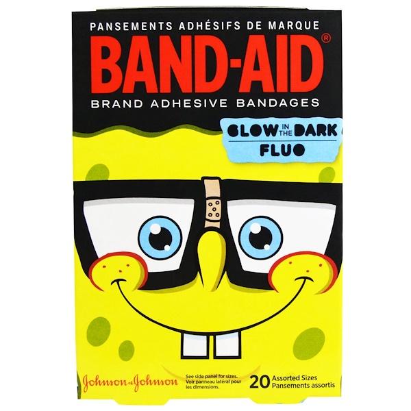 Band Aid, Adhesive Bandages, SpongeBob, 20 Assorted Sizes (Discontinued Item)
