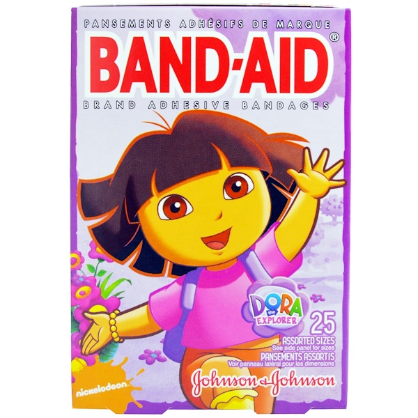 Band Aid, Adhesive Bandages, Nickelodeon, Dora the Explorer, 25 Assorted Sizes (Discontinued Item)