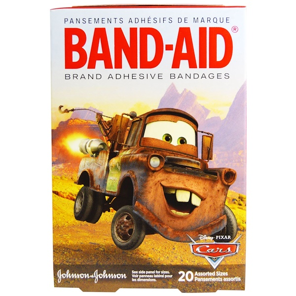 Band Aid, Brand Adhesive Bandages, Disney Pixar Cars, 20 Assorted Sizes (Discontinued Item)