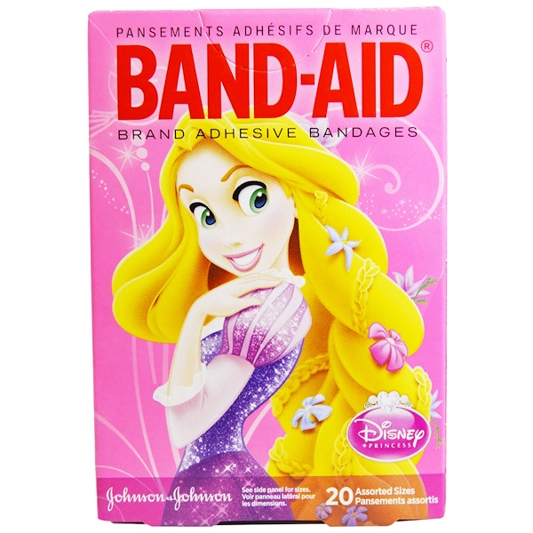 Band Aid, Adhesive Bandages, Disney Princess, 20 Assorted Sizes (Discontinued Item)