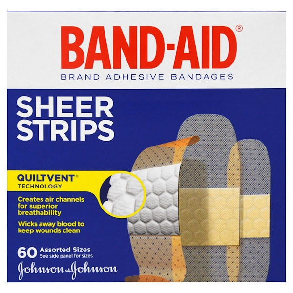Band Aid, Brand Adhesive Bandages, Sheer Strips, 60 Assorted Sizes (Discontinued Item)
