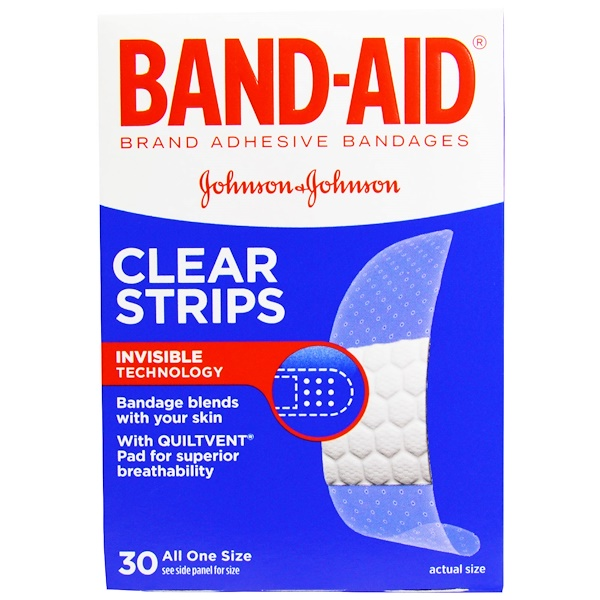 Band Aid, Adhesive Bandages, Clear Strips, 30 Bandages (Discontinued Item)