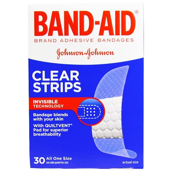 Band Aid, 粘性創可貼,透明條,30片創可貼