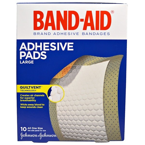 Band Aid, Adhesive Bandages, Adhesive Pads, Large, 10 Pads (Discontinued Item)