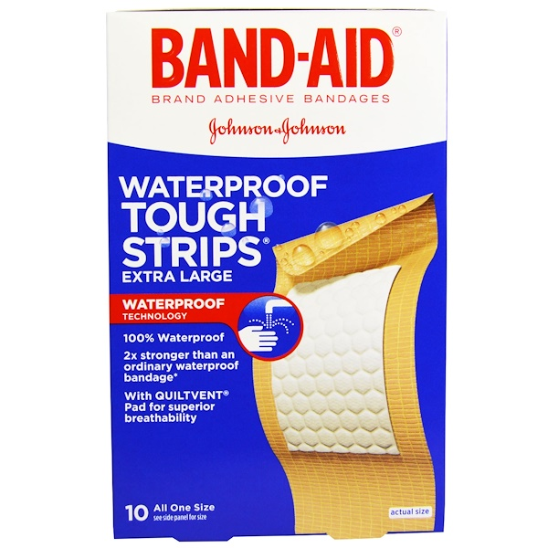 Band Aid, Adhesive Bandages, Waterproof Tough Strips, Extra Large, 10 Bandages (Discontinued Item)