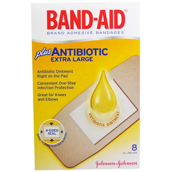 Band Aid, Brand Adhesive Bandages, Plus Antibiotics, Extra Large, 8 Bandages (Discontinued Item)