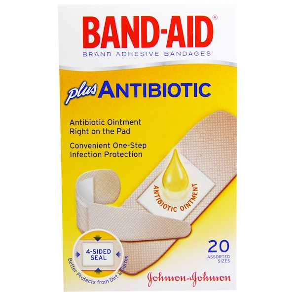 Band Aid, Pansements adhésifs, plus antibiotique, 20 tailles assorties. (Discontinued Item)