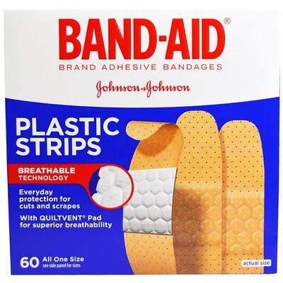 Adhesive Bandages, Plastic Strips, 60 Bandages