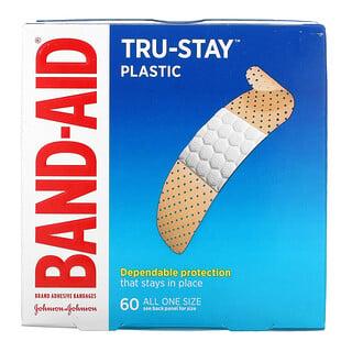 Band Aid, Tru-Stay, Adhesive Bandages, Plastic Strips, 60 Bandages