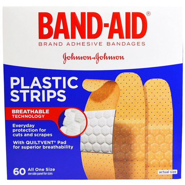 Band Aid, Adhesive Bandages, Plastic Strips, 60 Bandages