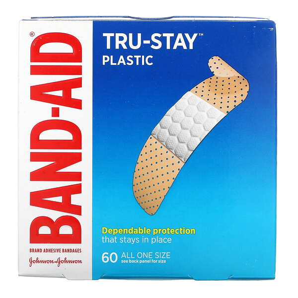 Band Aid, Tru-Stay, Adhesive Bandages, Plastic Strips, 60 Bandages