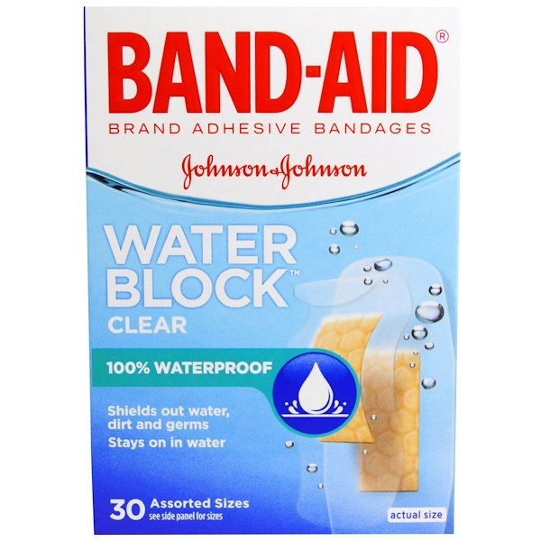 Adhesive Bandages, Water Block, Clear, 30 Assorted Sizes