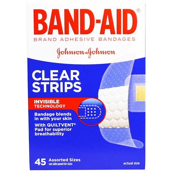 Band Aid, Brand Adhesive Bandages, Clear Strips, 45 Assorted Sizes (Discontinued Item)