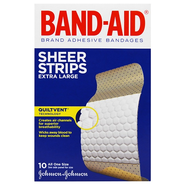 Band Aid, Brand Adhesive Bandages, Sheer Strips, Extra Large, 10 Bandages (Discontinued Item)