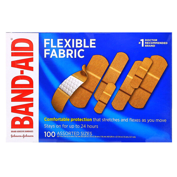 Adhesive Bandages, Flexible Fabric, 100 Assorted Sizes