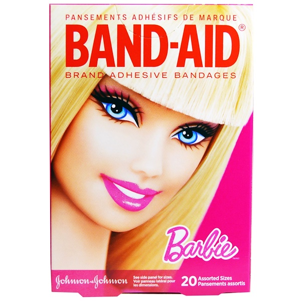 Band Aid, Adhesive Bandages, Barbie, 20 Assorted Sizes (Discontinued Item)