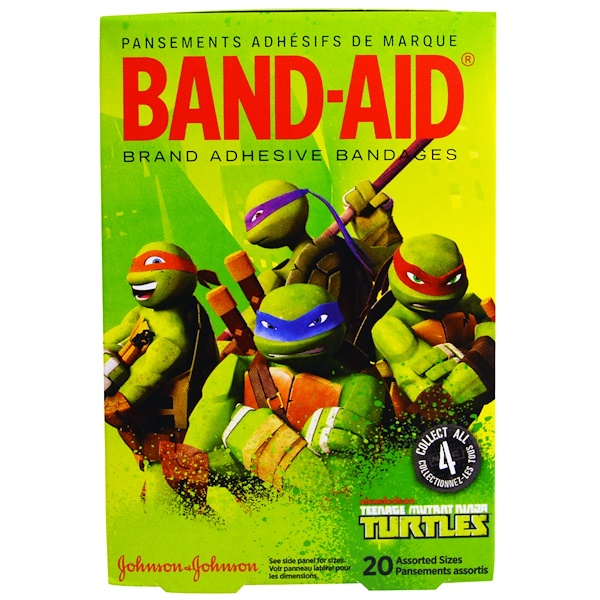 Band Aid, Adhesive Bandages, Teenage Mutant Ninja Turtles, 20 Assorted Sizes (Discontinued Item)