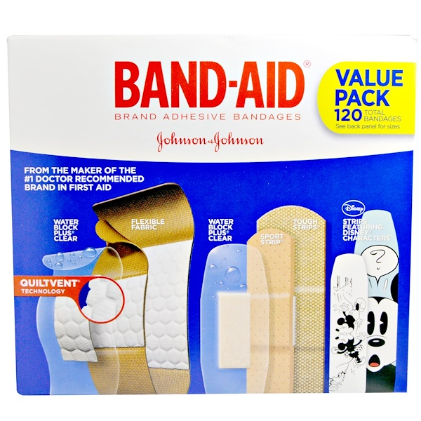 Band Aid, Adhesive Strips, Bandages, Value Pack, 5 Cartons, 120 Bandages (Discontinued Item)
