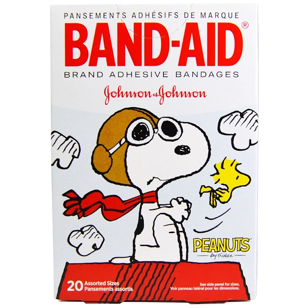 Band Aid, Adhesive Bandages, Peanuts, 20 Assorted Sizes (Discontinued Item)