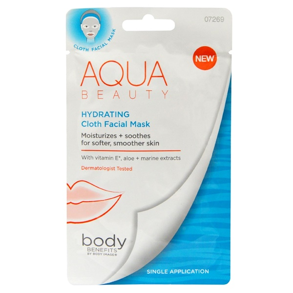 Body Benefits, By Body Image, Aqua Beauty, Hydrating, Cloth Facial Mask, Single Application (Discontinued Item)