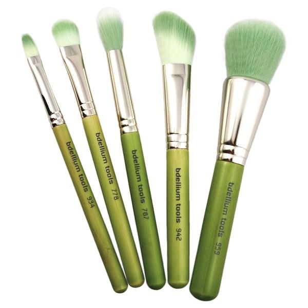 Bdellium Tools, Green Bambu Series, Mineral, 5 Pc Brush Set (Discontinued Item)