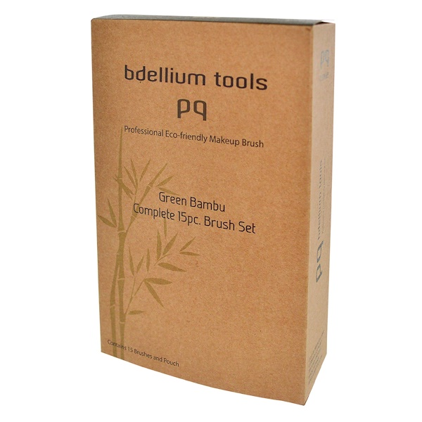 Bdellium Tools, Green Bambu, Complete Brush Set, 15 Brushes and Pouch (Discontinued Item)