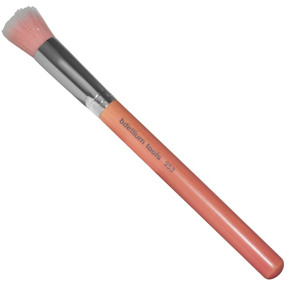 Bdellium Tools, Pink Bambu Series, Face 953, 1 Duet Fiber Foundation Brush (Discontinued Item)