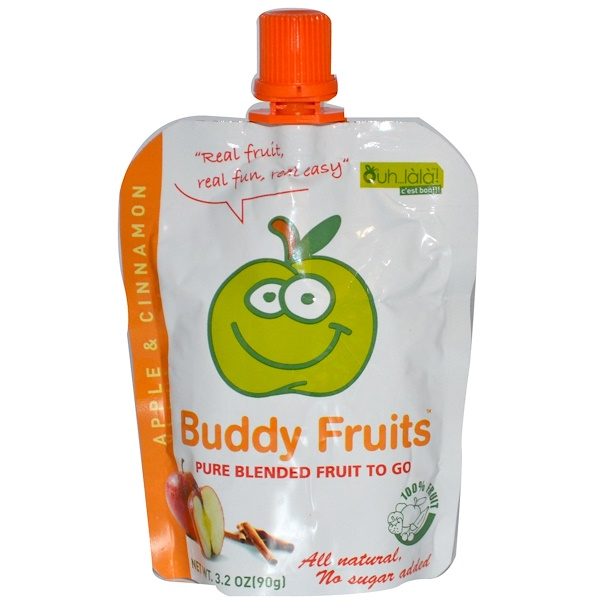 Buddy Fruits, Pure Blended Fruit To Go, Apple Cinnamon, 18 Pouches, 3.2 oz (90 g) Each (Discontinued Item)