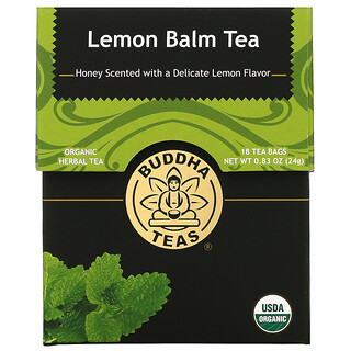 Buddha Teas, Organic Herbal Tea, Lemon Balm,  18 Tea Bags, 0.83 oz (24 g)