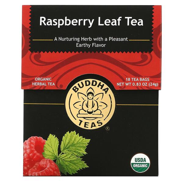 Buddha Teas, Organic Herbal Tea, Raspberry Leaf, 18 Tea Bags, 0.83 oz (24 g)