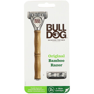 Bulldog Skincare For Men, Original Bamboo Razor, Two 5-Blade Cartridges