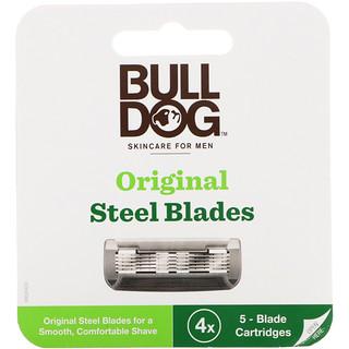 Bulldog Skincare For Men, Original Steel Blades Refill, Four 5-Blade Cartridges