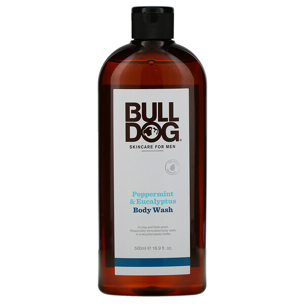 Bulldog Skincare For Men, Body Wash, Peppermint & Eucalyptus, 16.9 fl oz (500 ml)