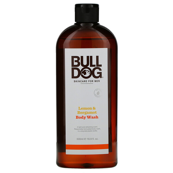 Bulldog Skincare For Men, Body Wash, Lemon & Bergamot, 16.9 fl oz (500 ml)
