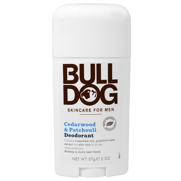 Bulldog Skincare For Men, Deodorant, Cedarwood & Patchouli, 2 oz (57 g) (Discontinued Item)