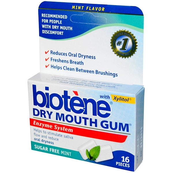 Biotene Dental Products, Dry Mouth Gum, Sugar Free Mint, 16 Pieces (Discontinued Item)